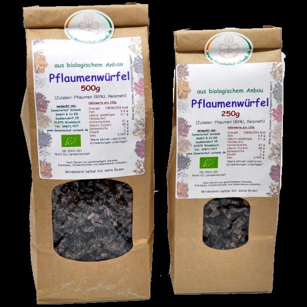 Bio Pflaumenwürfel - ohne Zusatz von Zucker