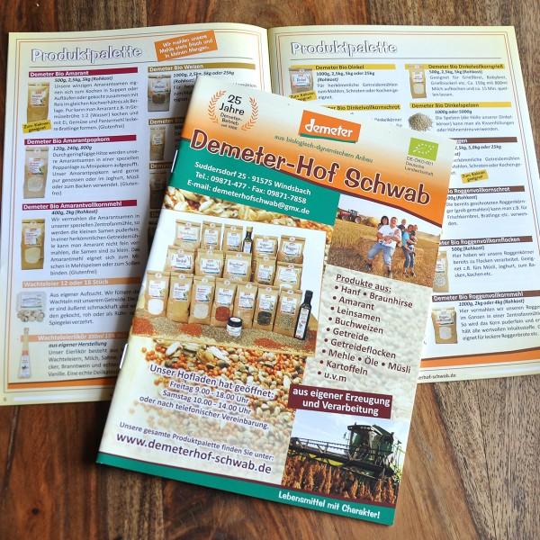 Demeterhof Schwab Broschüre - kostenlos