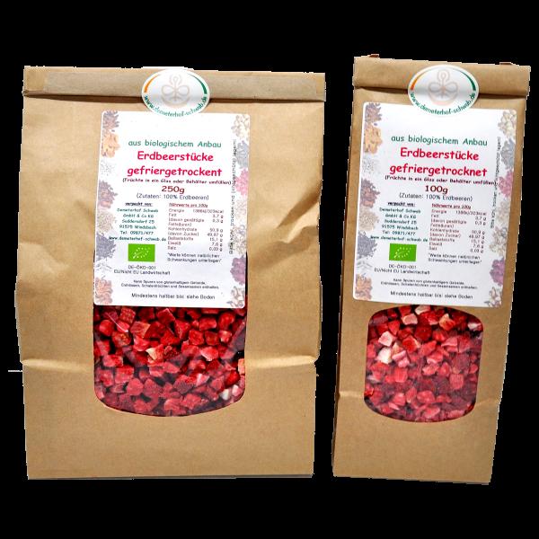 Bio Erdbeeren gefriergetrocknet- ohne Zusatz von Zucker