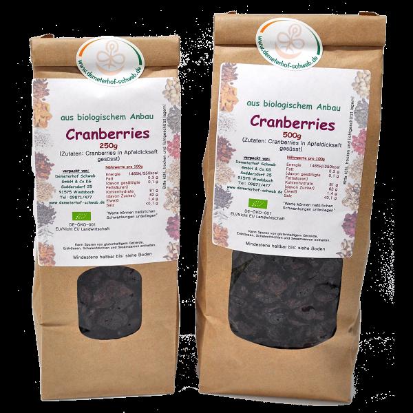 Bio Cranberries - in Apfelsaftkonzentrat gesüßt