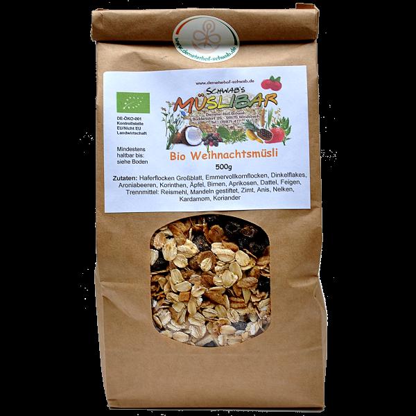 Bio Weihnachtsmüsli mit leckeren Lebkuchengewürz